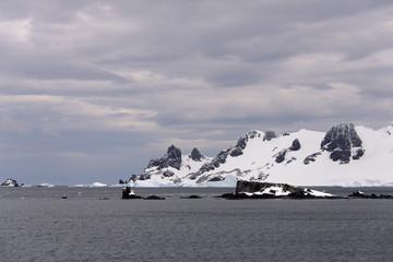 Antarctic landscape with snow