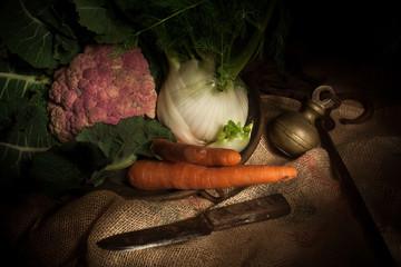 vegetables on jute sack  (light painting technique)