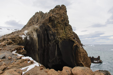 Rock in Antarctic sea near Deception island