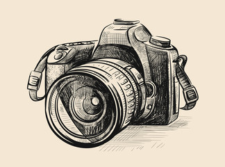 Modern camera in doodle style.