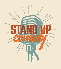 Lettered text stand up comedy.