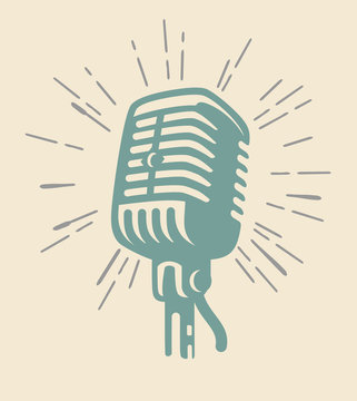 vintage microphone on beig