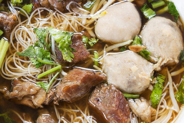 Closeup Meat Noodle. Beef and meat ball with noodle. Top view.