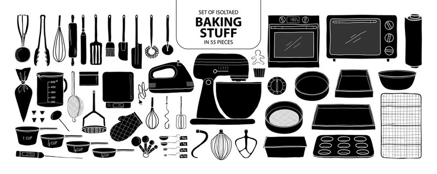 Set of isolated baking stuff in 55 pieces. Cute hand drawn kitchen tools vector illustration in black plane and white outline.