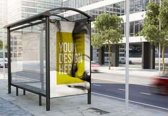 Bus Stop Advertising Kiosk Mockup on City Street 2