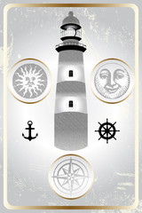 Nautical illustration of sun, moon and lighthouse in retro stamp design