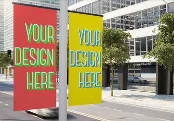 2 Lamppost Banners Mockup 1
