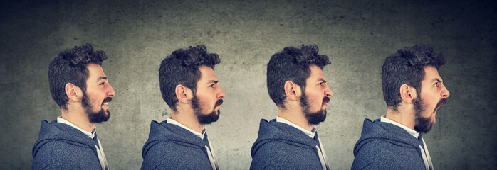 Man with different emotions and face expressions