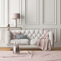 Interior of the living room with a sofa. Trend color. 3d