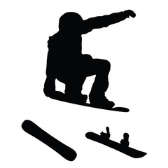 snowboarder silhouette with snowboard vector