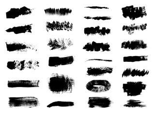 Set of hand-drawn acrylic vector brushes. Grunge brushes