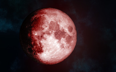 Solar system. Red Moon. Isolated on a cosmic background. Image in 5K resolution for desktop wallpaper. Elements of the image are furnished by NASA