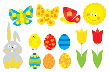set of cute cartoon Easter objects : easter-eggs, bunny, tulips, smiling sun / collection of spring / Easter  vectors for children