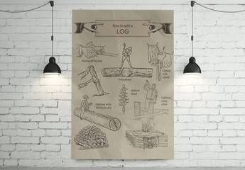 Antique Illustrated How to Split a Log Poster