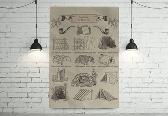 Antique Illustrated How to Make a Shelter Poster