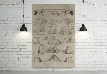 Antique Illustrated How to Put Up a Tent Poster