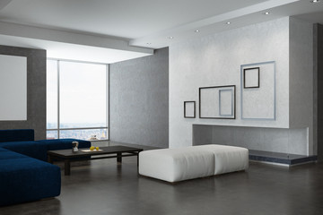 White and gray living room corner, posters