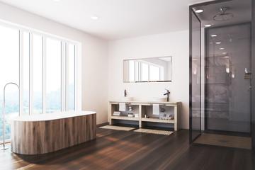 White bathroom corner, a shower