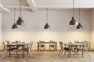 Fototapeta White brick cafe interior obraz
