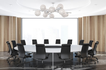 Panoramic wooden meeting room, round table