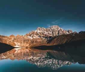 Wall Mural - Wonderful panoramic view the Gokyo Lake on the mighty Himalayas mountains background. The protected area of the Sagarmatha National Park in the north-eastern Nepal.