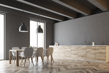 Wooden table and countertops kitchen side