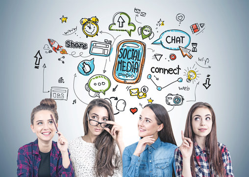 Four teen girls thinking together, social media