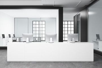 White reception in an open space office
