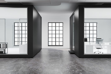 White and glass open space office, concrete