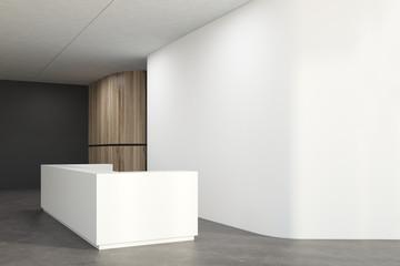 White office corner, reception