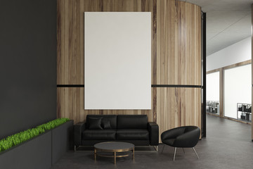 Wooden wall office waiting room, poster