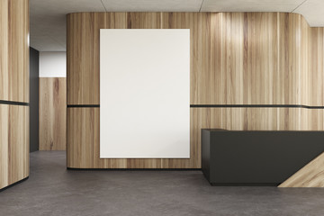 Black and wooden reception in a office lobby