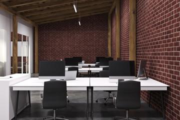 Brick open space office, concrete close up