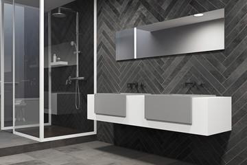 White sink vanity unit in a black bathroom side