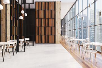 Dark wooden panoramic cafe interior
