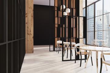 Dark wooden panoramic cafe