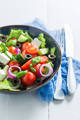 Closeup of fresh and healthy Greek salad