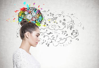Profile of a calm woman in white, cog brain