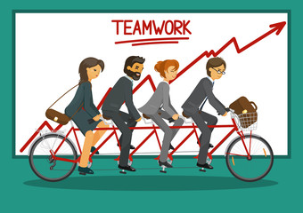 Teamwork. Businessmen and business women riding tandem bicycle together. Business teamwork concept. Red rising arrow. Vector illustration.