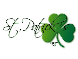 Saint Patrick's Day. Lettering St. Patrick's with green clover