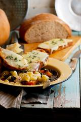italian pumpkin kale chicken noodle soup fontina toast