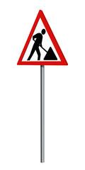 Deutsches Verkehrszeichen: Baustelle, auf weiß isoliert, 3d render