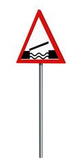 Deutsches Verkehrszeichen: bewegliche Brücke, auf weiß isoliert, 3d render