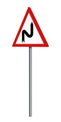 Deutsches Verkehrszeichen: Doppelkurve rechts, auf weiß isoliert, 3d render