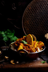 pumpkin curry chicken over cashew rice.