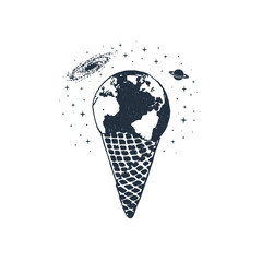 Hand drawn travel badge with ice cream cone and Earth textured vector illustrations.