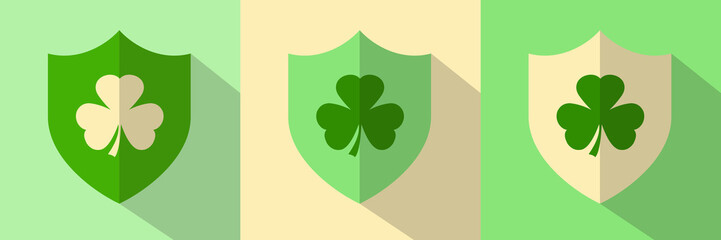 Irish Shamrock Shield Icons