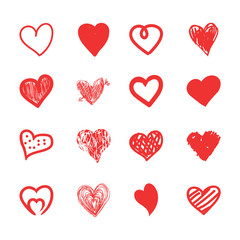 Hand drawn hearts sketch, grunge and doodle set. Isolated red love shapes on white background.