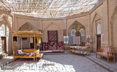 hand made carpets, traditional Uzbek handwork, in the small bazaar, Khiva, Uzbekistan