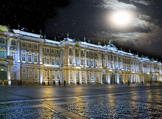 St. Petersburg. Russia. Palace Square and the Winter Palace in night illumination..